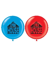 "36"" Latex Balloon 2 Count Open House (Red, Blue)"