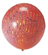 "18"" Peacock Balloon Latex Balloon Red (5 Count)"