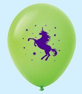 "11"" Unicorn Latex Balloons 25 Count Lime Green"