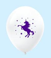 "11"" Unicorn Latex Balloons 25 Count White"