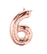 """16"""" Airfill Only Number 6 - Rose Gold  Number"""