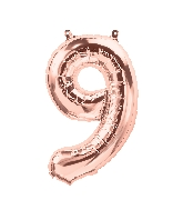 """16"""" Airfill Only Number 9 - Rose Gold  Number"""