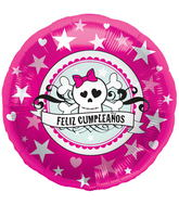 "18"" Foil Balloon Feliz Cumpleaños Skully Pink"