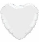 """36"""" Heart Foil Mylar Balloon White"""