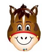 """32"""" Hilarious Horse Jumbo Packaged Mylar Balloon"""