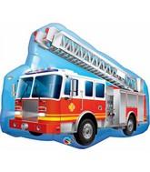 "36"" Red Fire Truck Jumbo Packaged Mylar Balloon"