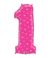 """38"""" Number One Pink Hearts Balloon"""