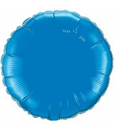 "9"" Airfill Only Sapphire Blue Round Plain Foil Balloon"