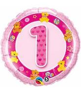 "18"" Age 1 Pink Teddies Mylar Balloon"