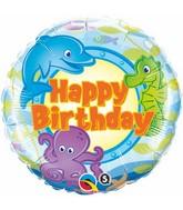 """18"""" Birthday Fun Sea Creatures Mylar Balloon"""