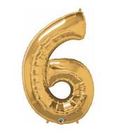 """42"""" Jumbo Number Balloon Six Metallic Gold"""
