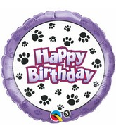 "18"" Birthday Paw Prints Packaged Mylar Balloon"