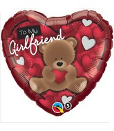"18"" To My Girlfriend Bear Mylar Balloon"