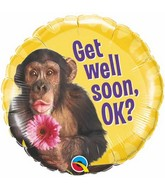 """18"""" Get Well Chimp With Flower Mylar Balloon"""