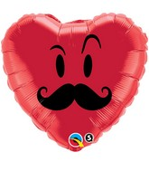 "18"" Mr. Mustache Heart Balloon"