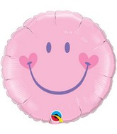 "18"" Sweet Smile Face – Pink Mylar Balloon"