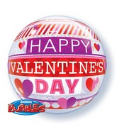 "22"" Valentine's Day Stripe Patterns Bubble Balloon"