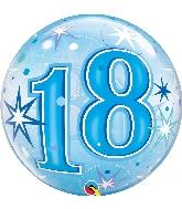 """22"""" Single Bubble 18 Blue Starburst Sparkle"""