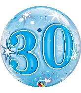 """22"""" Single Bubble 30 Blue Starburst Sparkle"""