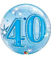 """22"""" Single Bubble 40 Blue Starburst Sparkle"""
