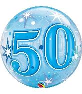 """22"""" Single Bubble 50 Blue Starburst Sparkle"""