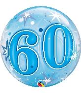 """22"""" Single Bubble 60 Blue Starburst Sparkle"""