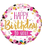 """18"""" Happy Birthday To You Pink & Gold Foil Balloon"""
