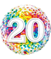 "18"" 20 Rainbow Confetti Foil Balloon"