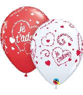 """11"""" Red&White 50CT Je T'Adore-Coeurs Latex Balloons"""