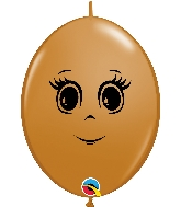 "12"" Quick Link Mocha 50 Count Feminine Face Latex Balloons"