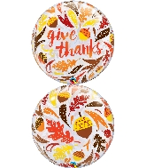 "22"" Give Thanks Acorns & Leaves Bubble Balloon"