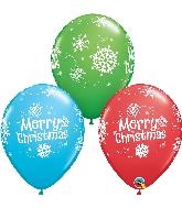 "11"" Merry Christmas Snowflakes Latex Balloon"