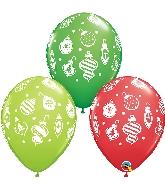 "11"" Christmas Ornaments & Dots Latex Balloon"