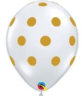 "11"" Diamond Clear Gold Big Polka Dots"