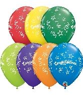 "11"" Carnival Assort Congratulations Streamers Latex Balloons"