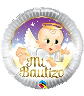 "18"" Mi Bautizo Angel Baby Foil Balloon"