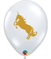 "11"" Golden Unicorn Latex Balloons Diamond Clear 50 Count"