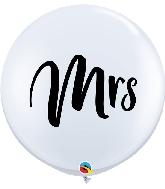 "36"" White Mrs Latex Balloons 2 Per Bag"