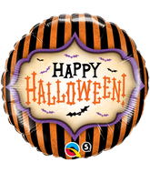 """18"""" Happy Halloween Stripes Balloon Packaged"""