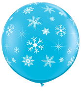 "36"" Robin's Egg Blue Snowflakes Latex Balloon"