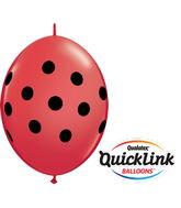 "6"" Quicklink Red 50 Count Big Polka Dots"