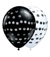 "11"" Polka Dot Assorted Onyx Black & White (50 ct.)"
