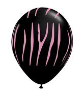 "11"" Zebra Stripes Onyx Black w/Pink Ink (50 ct.)"
