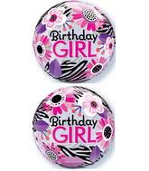 "22"" Birthday Girl Zebra Stripes Plastic Bubble Balloons"