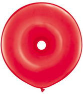 "16"" Geo Donut Latex Balloons (25 Count) Red"