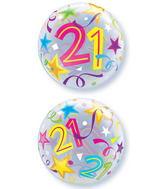 "22"" 21 Brilliant Stars Plastic Bubble Balloons"