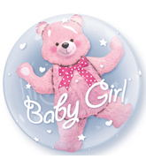 "24"" Baby Pink Bear Plastic Double Bubble Balloons"