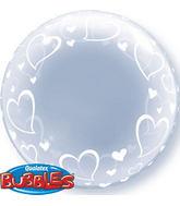 "24"" Deco Bubble – Stylish Hearts Plastic Balloon"
