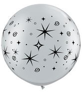 "30"" Sparkles & Swirls Silver Latex Balloons (2 ct.)"