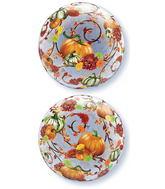 """22"""" Autumn Floral & Pumpkins Plastic Bubble Balloons"""